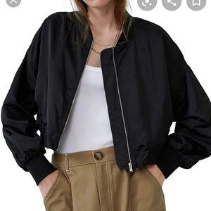 Zara black satin feel zip up bomber jacket